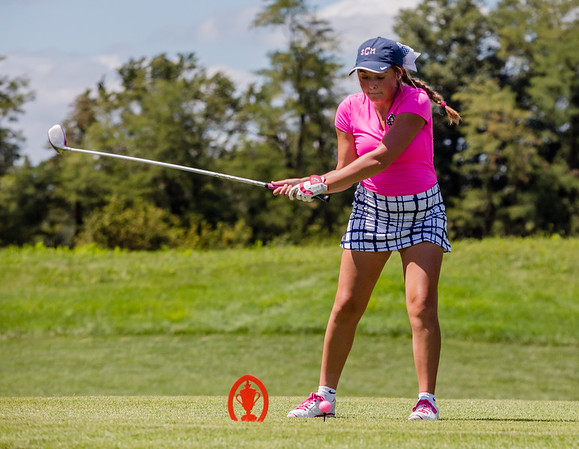 Providence's Shea Caylor drives a ball during the Zoeller Invitational at Champion's Pointe in Henryville on Saturday.