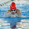 Jeffersonville senior Adeline Dixon pushes for first place in the 100 yard breaststroke in the Hoosier Hills Conference meet on Tuesday. Staff photo by Tyler Stewart