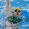 Floyd Central sophomore Lauren Thompson competes in the 100 yard backstroke in the Hoosier Hills Conference meet on Tuesday. Staff photo by Tyler Stewart