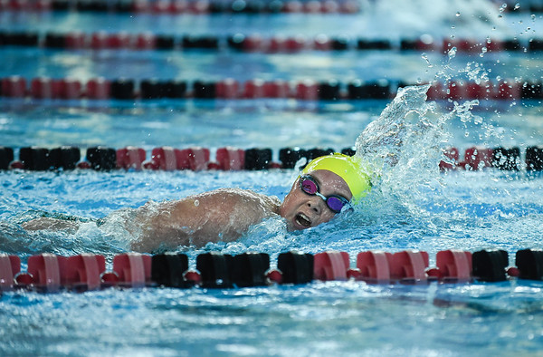 Floyd Central senior Gracie Horvath moves down the lane during the 800 yard medley relay as part of the New Albany Relay meet on Tuesday. Staff photo by Tyler Stewart