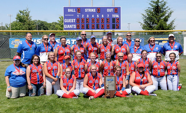 Don Knight   For The Herald Bulletin<br /> Elwood poses for a team photo with their runner-up trophy after losing to Indianapolis Scecina 6-2 in the Class 2A State Final at Ben Davis High School on Saturday.