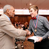 Don Knight | The Herald Bulletin<br /> Frankton's Landon Weins receives the Johnny Wilson Award from Johnny Wilson at the Anderson Country Club on Wednesday.