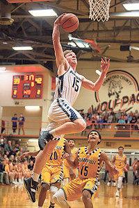 Providence's Hayden Burke drives to the basket during the Pioneers' 62-60 victory over Clarksville in the class 2A Crawford County Sectional on Wednesday.  Photo by Joe Ullrich