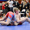 Don Knight | The Herald Bulletin<br /> Frankton's Cody Klettheimer repeats as 170-pound wrestling champion with 32-second pin over Elwood's Tyler Jarrell on Saturday.