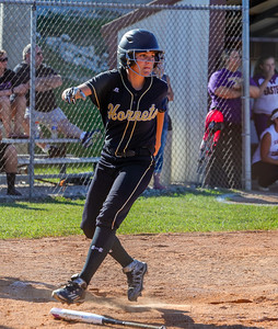 Henryville's Allison Horn steps across home plate for a run during the Hornet's 10-1 sectional champsionship win over Eastern on Thursday.