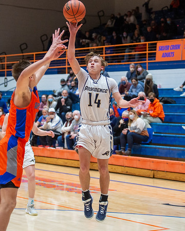 Providence senior Nick Sexton puts up a shot during the Pioneers' 62-41 loss to Silver Creek in the 60th Annual Holiday Tournament held at Silver Creek on Tuesday. Photo by Joe Ullrich