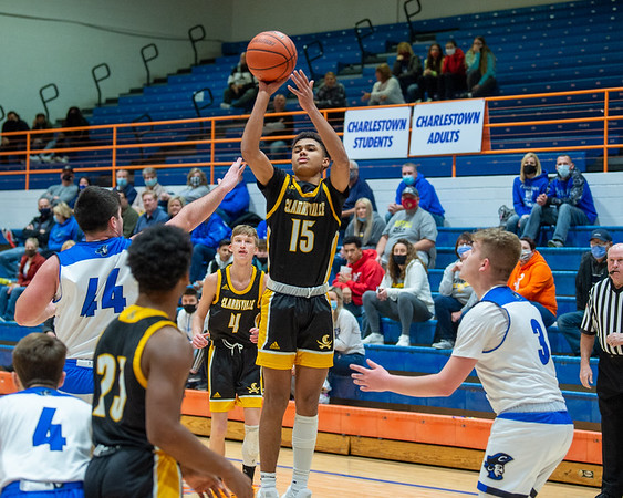 Clarksville junior Dakota Capps puts up a shot during the Generals' 75-61 victory over Charlestown in the 60th Annual Holiday Tournament held at Silver Creek on Tuesday. Photo by Joe Ullrich
