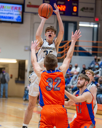 Providence senior Zach Johnson puts up a shot during the Pioneers' 62-41 loss to Silver Creek in the 60th Annual Holiday Tournament held at Silver Creek on Tuesday. Photo by Joe Ullrich