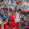 New Albany sophomore Josten Carter puts up a shot during the Bulldogs' 71-70 loss to Blackford at the Doghouse on Tuesday. Photo by Joe Ullrich