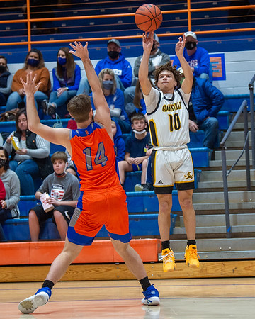 Clarksville senior Jaren Starks shoots a three point basket during the Generals' 95-49 loss to Silver Creek in the 60th Annual Holiday Tournament championship game held at Silver Creek on Wednesday. Photo by Joe Ullrich