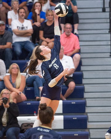 Providence sophomore Makenzie Wagner attempts a kill during the Pioneers' straight set loss to visiting Mercy on Tuesday. Photo by Joe Ullrich