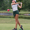 Floyd Central's Paige Giovenco drives a ball from the tee box during the Floyd Central golf invite at Old Capital Golf Club in Corydon on Saturday. Photo by Joe Ullrich