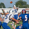 Charlestown sophomore Clay McClelland fires a pass during the Pirates' 39-14 loss at Silver Creek on Friday. Photo by Joe Ullrich