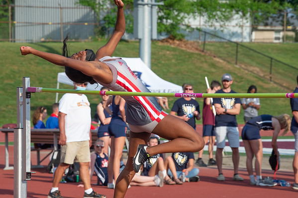 Jeffersonville's Aniyah Thomas finished seventh in the high jump at the Bloomington North regional championship on Tuesday. Photo by Joe Ullrich