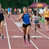 Charlestown freshman Lyric Steele anchored the regional champion 4x100-meter relay team at the Bloomington North regional championship on Tuesday. Photo by Joe Ullrich