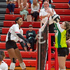 New Albany senior Kamori Knight hits a kill attempt during the Bulldogs' 3-0 loss to Floyd Central on Thursday. Photo by Joe Ullrich