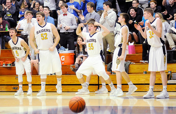 Don Knight | The Herald Bulletin<br /> Shenandoah's bench reacts after Lapel was called for an offensive foul as the Raiders hosted the Bulldogs on Friday.
