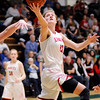 Don Knight | The Herald Bulletin<br /> Frankton's Sydney Tucker shoots a layup after driving the baseline as the Eagles faced Tipton in the first round of the regional at Eastern High School on Saturday.