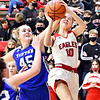 As Frankton's Emma Sperry goes up for a shot she get fouled across the head by Tipton's Ashley Schram.