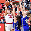 Frankton's Chloee Thomas goes up for a shot over the Tipton defenders.