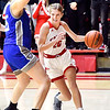 Frankton's Ava Gardner tries to get a step as she drives the baseline to the basket.