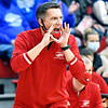Frankton's head coach Stephan Hamaker yells out instructions to his players.
