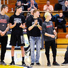 Don Knight | The Herald Bulletin<br /> Shenandoah recognized their four wrestlers going to state and their coach during halftime of the Raiders game against the Yorktown Tigers on Wednesday. From left are Josh Gee, Ryan Surguy, Dallas Pugsley, A.J. Black and coach Gary Black.