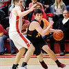 Don Knight | The Herald Bulletin<br /> Alexandria's Rylan Metz drives as he is guarded by Frankton's Rylan Detling as the Eagles hosted the Tigers on Friday.