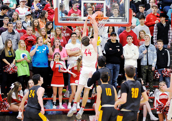 Don Knight | The Herald Bulletin<br /> Frankton's Will Whatley dunks the ball as the Eagles hosted the Tigers on Friday.