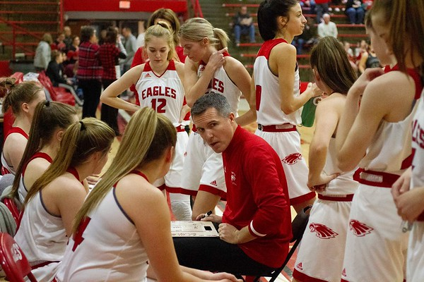 Bob Hickey | For The Herald Bulletin<br /> Coach Hamaker talks to his team prior to the start of the second half of Saturday's Regional game against Eastbrook