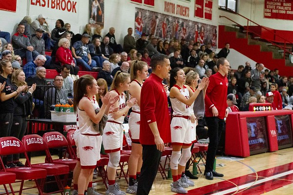 Bob Hickey | For The Herald Bulletin<br /> Coach Hamaker and the bench stand to watch the final seconds of the Eastbrok game Saturday morning
