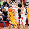 Don Knight | The Herald Bulletin<br /> Frankton's Maurice Knight and Kayden Key trap Blake Morehead at halfcourt forcing Alexandria to use a timeout on Friday.