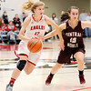 Don Knight | The Herald Bulletin<br /> Frankton's Sydney Tucker drives as she is guarded by Central Noble's Calista Rice during the semi-state at Logansport on Saturday.