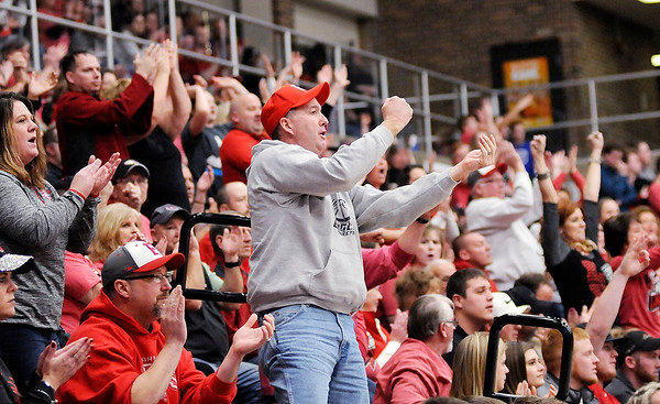 Don Knight | The Herald Bulletin<br /> Frankton fans react to a play as the Eagles faced the Central Noble Cougars in the semi-state at Logansport on Saturday.