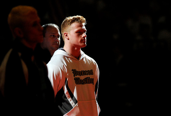 Don Knight |  The Herald Bulletin<br /> Daleville's Corbin Maddox is introduced during the wrestling state championship at Bankers Life Fieldhouse on Saturday.
