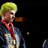 Don Knight |  The Herald Bulletin<br /> Shenandoah's AJ Black stands on the podium after finishing second at 106 pounds during the state championship at Bankers Life Fieldhouse on Saturday.