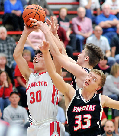 John P. Cleary |  The Herald Bulletin<br /> Franikton's Kayden Key fights for a rebound.