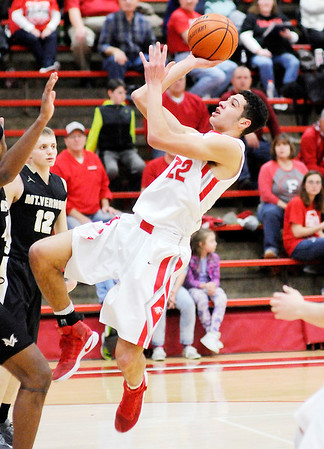 Don Knight | The Herald Bulletin<br /> Frankton's Maurice Knight drives for a layup as the Eagles hosted Mt. Vernon on Thursday.