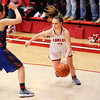 Don Knight | The Herald Bulletin<br /> Frankton's Sierra Southard drives to the basket as the Eagles hosted Elwood in a sectional semifinal on Friday.