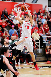 Don Knight   The Herald Bulletin Frankton's Rylan Detling shoots from the lane as the Eagles hosted Sheridan on Friday.