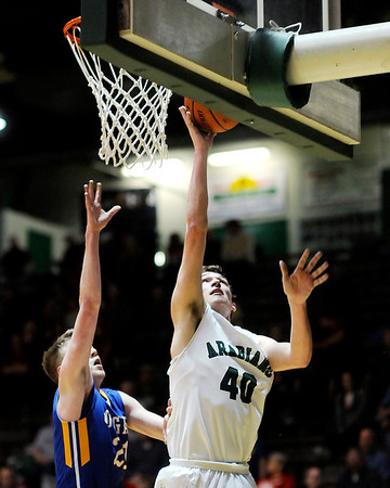 Don Knight   The Herald Bulletin<br /> Pendleton Heights faced Greenfield in the first round of the sectional on Tuesday.