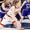 Frankton Lady Eagle Bailey Tucker drives toward the basket during the IHSAA 2A Girls State Basketball State Finals.