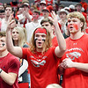 Frankton fans in the student section react as their Lady Eagles went down to defeat at the hands of the Linton-Stockton Miners in the IHSAA 2A Girls State Basketball State Finals Saturday.