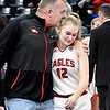 Frankton's Bailey Tucker gets a kiss from her father, Bobby Tucker, after she was named the Mental Attitude Award winner for class 2A girls basketball.
