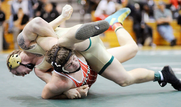 Don Knight   The Herald Bulletin<br /> Wrestling regional at Pendleton Heights on Saturday.