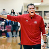 Frankton's head coach Stephan Hamaker reacts to a call on the court during the sectional championship game against Alexandria.