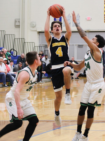 Chris Martin | For The Herald Bulletin<br /> Shenandoah Guard Chase Kinsey goes for a layup against Cloverdale. The Raiders lost 66-61 to Cloverdale in Regional 11 Saturday at Greenfield-Central