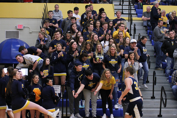 Chris Martin | For The Herald Bulletin<br /> Shenandoah's students greet players just before tipoff of their Regional game against Cloverdale.  The Raiders lost 66-61 Saturday at Greenfield-Central