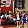 Richard Sitler | For The Herald Bulletin<br /> Shenandoah's Jakeb Kinsey connects on a free throw to give the Raiders a 33-24 lead in the third quarter over the Royals during the 2A basketball sectional 42 semi-finals at Knightstown on Friday.