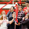 Don Knight | The Herald Bulletin<br /> Frankton's student section leaders lead a cheer during a semi-state pep rally on Friday. Frankton and Shenandoah will be competing in the semi-state today. You can find a preview for both games in today's Sports section.